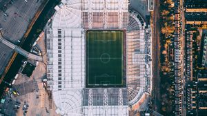 Preview wallpaper stadium, football field, aerial view, football