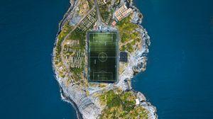 Preview wallpaper stadium, island, city, aerial view, sea