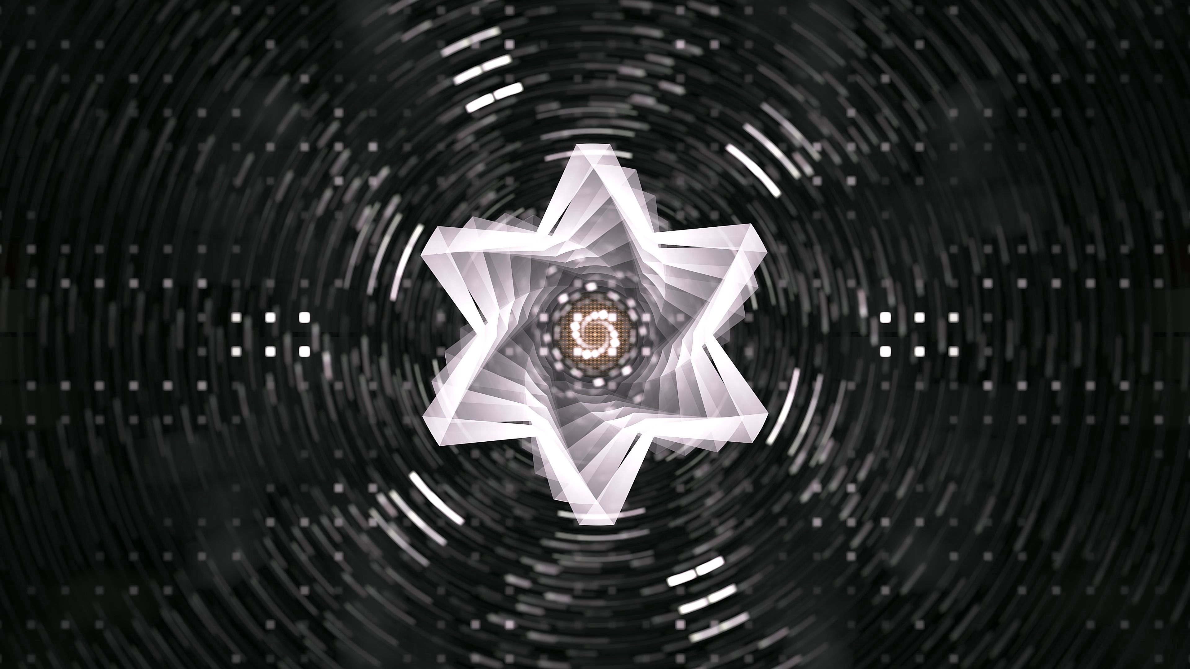 3840x2160 Wallpaper star, fractal, swirling, rotation, abstraction
