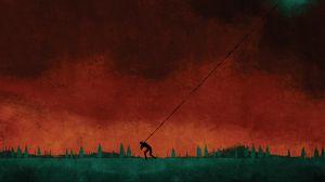 Preview wallpaper star, man, sky, burden, drawing