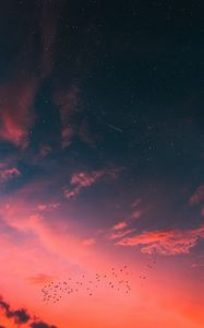 Preview wallpaper starry sky, clouds, sunset