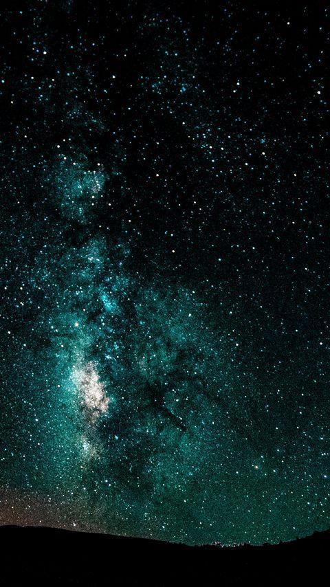480x854 Wallpaper starry sky, milky way, night, shining, galaxy