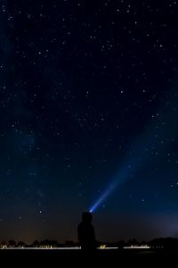 Preview wallpaper starry sky, silhouette, light, ray, night
