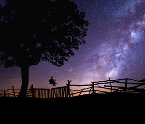 Preview wallpaper starry sky, silhouette, swing, tree, night