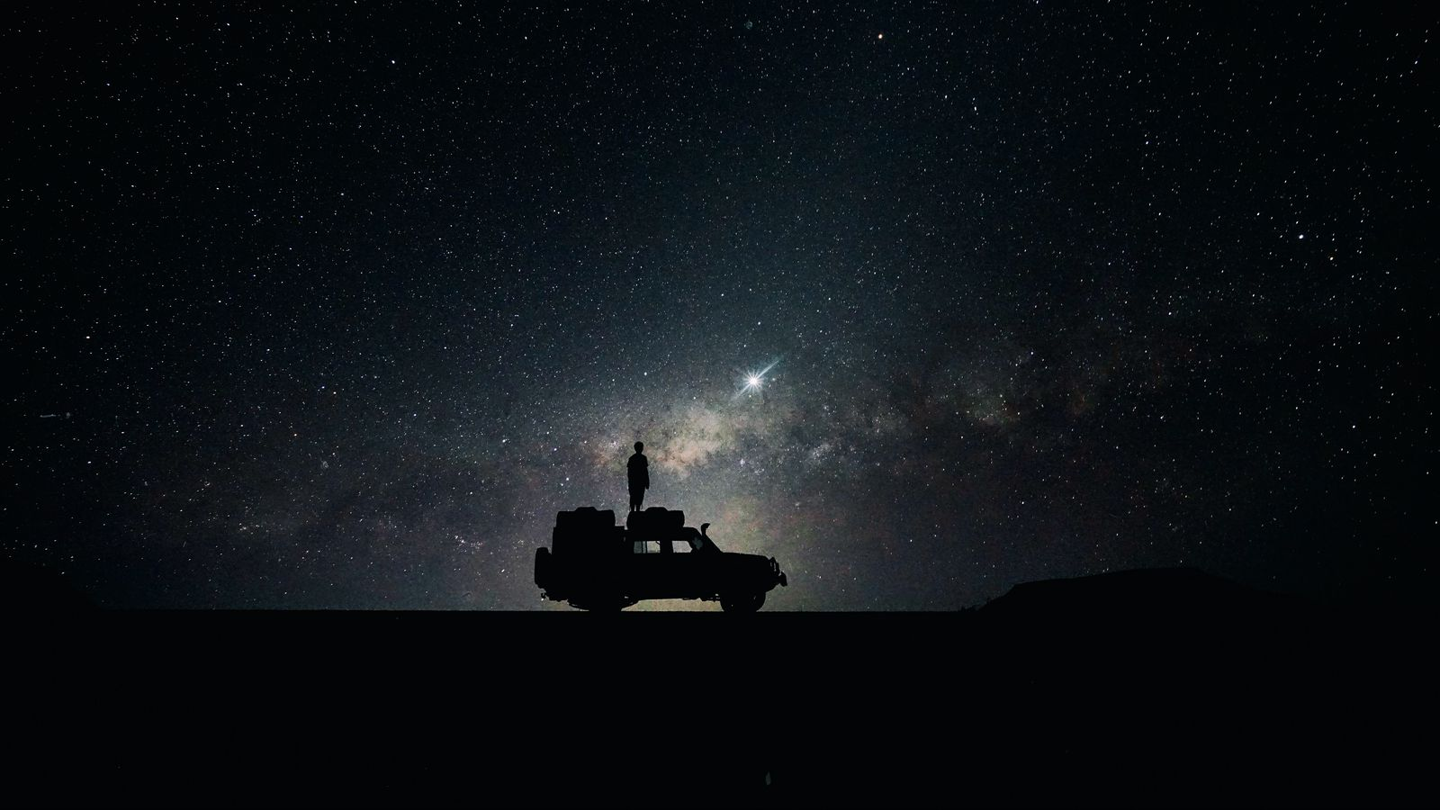 1600x900 Wallpaper stars, sky, space, car