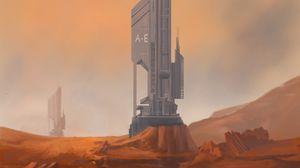 Preview wallpaper station, building, desert, sci-fi, art