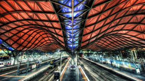 Preview wallpaper station, path, platform, roof, construction, hdr