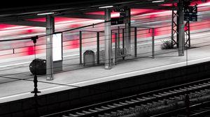 Preview wallpaper station, platform, rails, dark, backlight