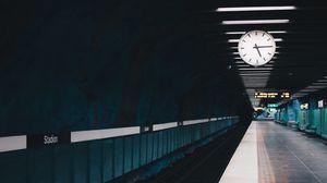 Preview wallpaper station, railway, clock, underground