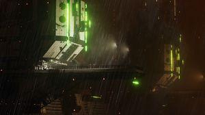 Preview wallpaper station, sci-fi, night, rain, dark, art