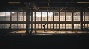 Preview wallpaper station, silhouette, dark, platform, building