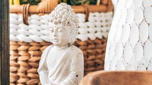 Preview wallpaper statue, buddha, buddhism, white, stone