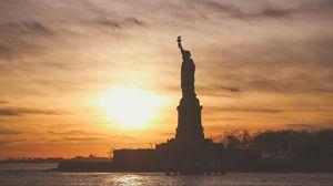 Preview wallpaper statue of liberty, usa, america, sunset, sculpture