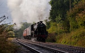 Preview wallpaper steam locomotive, locomotive, railway, trees