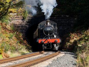 Preview wallpaper steam locomotive, locomotive, train, railroad, smoke