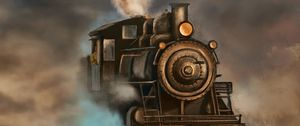 Preview wallpaper steam locomotive, train, rails, smoke, art