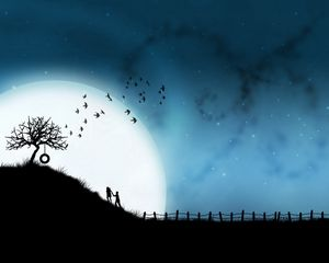 Preview wallpaper steam, tree, love, hugs, birds, night, silhouettes