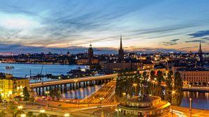 Preview wallpaper stockholm, sweden, evening, lights of the city