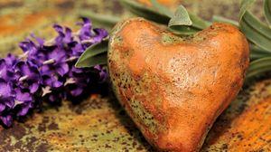 Preview wallpaper stone, heart, flowers, spots