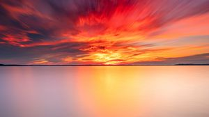 Preview wallpaper stone, horizon, sea, sunset