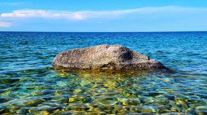 Preview wallpaper stone, water, pebbles, horizon