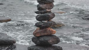 Preview wallpaper stones, balance, harmony, sea, waves