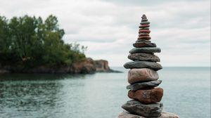 Preview wallpaper stones, balance, harmony, sea, sky