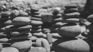 Preview wallpaper stones, sea, black and white