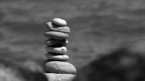 Preview wallpaper stones, stack, black and white