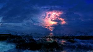 Preview wallpaper storm, sea, clouds, lightning, waves, overcast