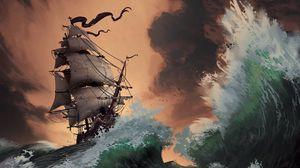 Preview wallpaper storm, ship, sea, waves, art