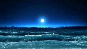 Preview wallpaper storm, waves, sea, moon, night, art