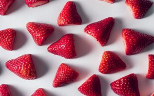 Preview wallpaper strawberry, minimalism, ripe, berries