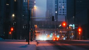 Preview wallpaper street, city, buildings, cars, lights