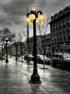 Preview wallpaper street, city, evening, black white, lights, buildings, hdr