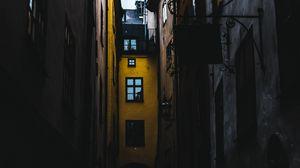Preview wallpaper street, evening, lane, buildings, old town, stockholm, sweden