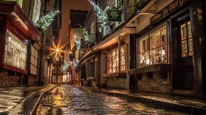 Preview wallpaper street, houses, road, paving, windows, lights, shopping, evening, night, england, christmas, new year