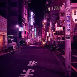 Preview wallpaper street, neon, night city, backlight, purple, tokyo