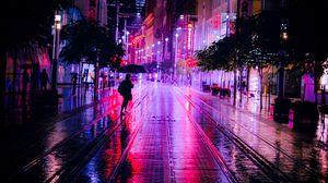 Preview wallpaper street, night, silhouettes, neon, dark