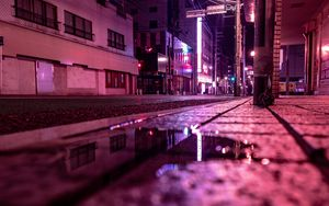 Preview wallpaper street, puddle, neon, light, night