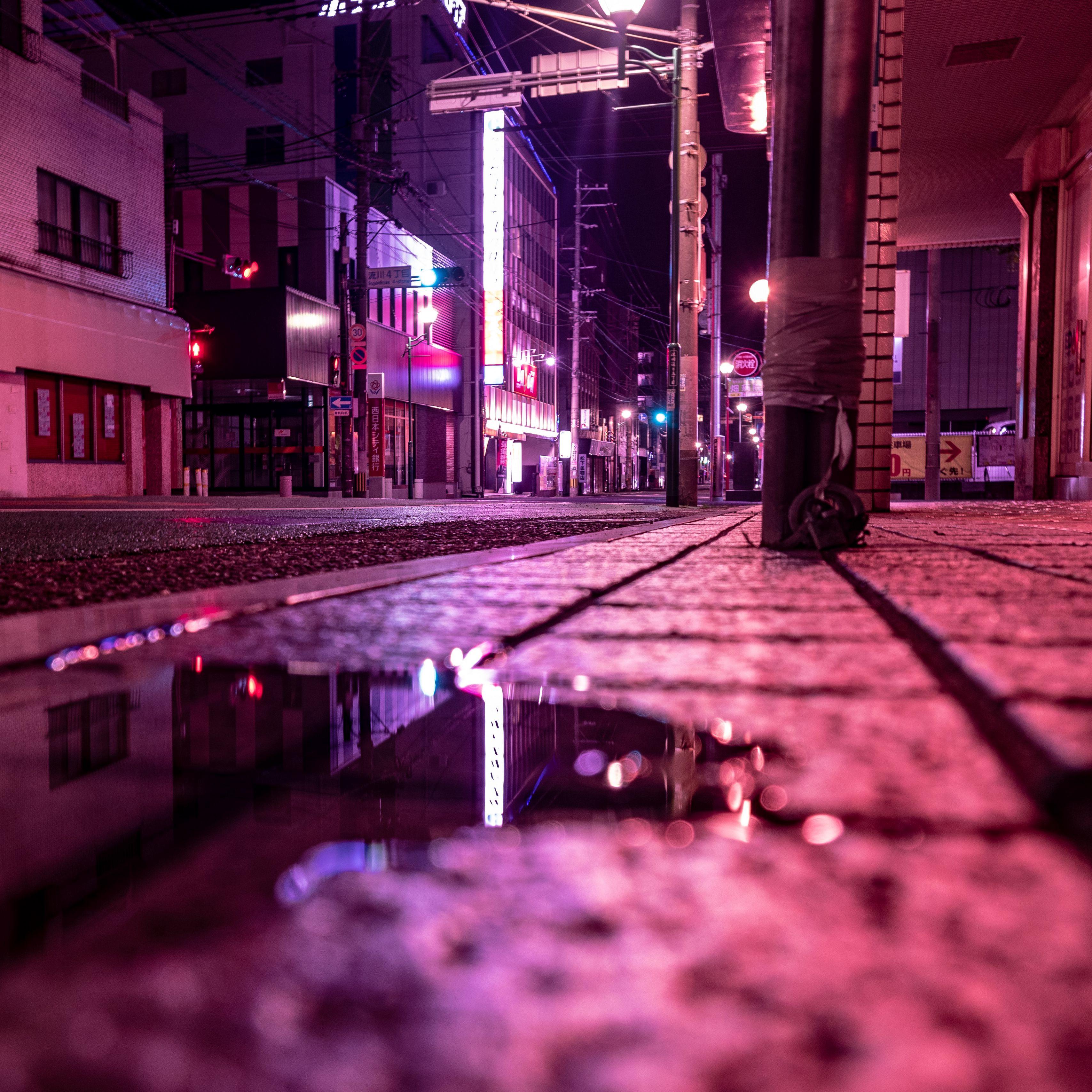 3415x3415 Wallpaper street, puddle, neon, light, night