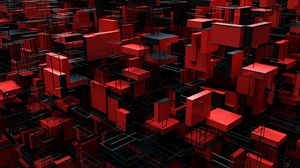 Preview wallpaper structure, blocks, 3d, red, black