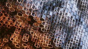 Preview wallpaper structure, construction, metallic, hexagons, prisms, mesh