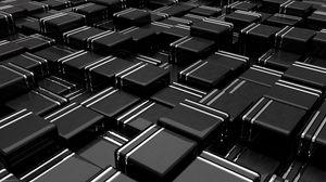 Preview wallpaper structure, cubes, 3d, black, lines