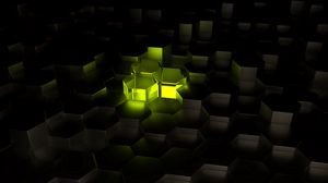 Preview wallpaper structure, hexagons, 3d, glow