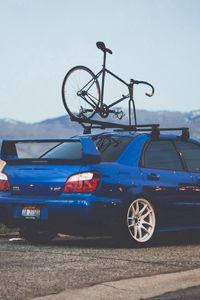 Preview wallpaper subaru, auto, blue, bike