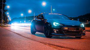 Preview wallpaper subaru, car, black, road, night, lights