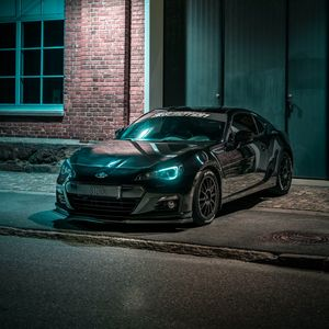 Preview wallpaper subaru, car, black, night, light