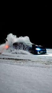 Preview wallpaper subaru, car, blue, drift, snow
