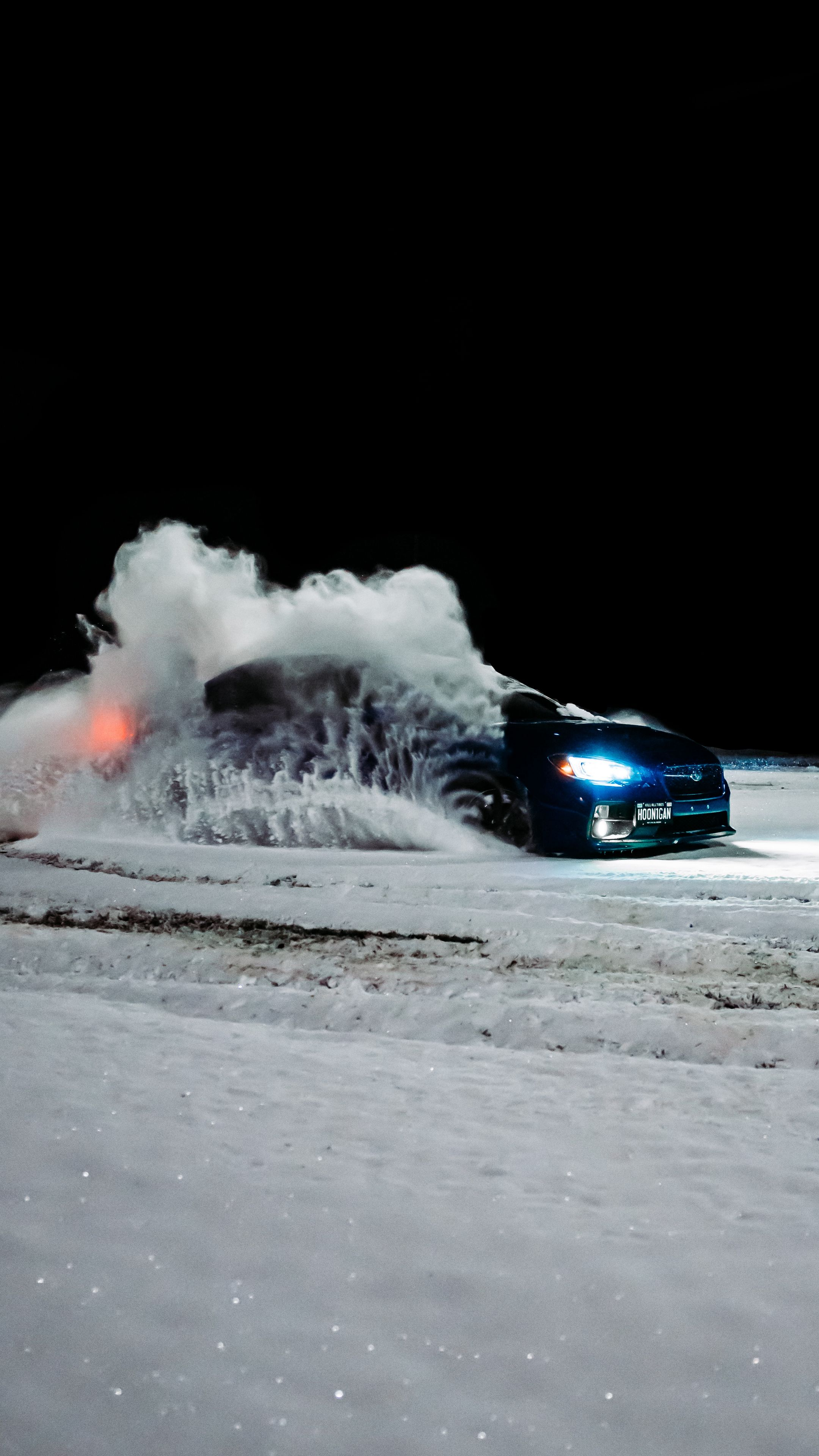 2160x3840 Wallpaper subaru, car, blue, drift, snow